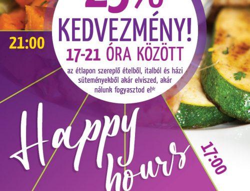 Happy hours 17:00–20:30